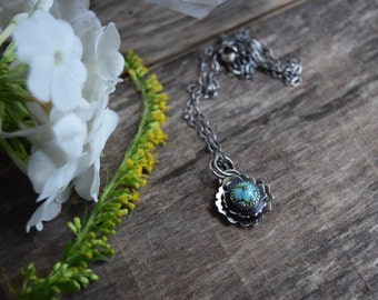Blue Diamond Turquoise Necklace Small Turquoise Pendant Real Turquoise Necklace Metalsmith Jewelry