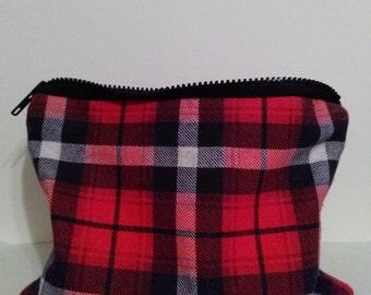 "9""x7"" Red Plaid Make-up/Stationary Bag Large"