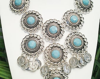 Silver and Turquoise Statement Necklace / Ethnic Style Necklace