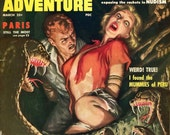 Man's Adventure Magazine  1958  Crawling Pit of Snake Death  Sun Sex Sanity  Mummies  Crimes Blood Nudism Racket  Paris Sensational