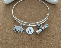 GRADUATION - INITIAL Charm Bracelet-Silver-Plated Bangle, Antique Silver Charms - Diploma-Grad Cap 2016-TierraCast Round Initial
