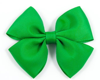 Green Hair Bow, Green Hair Bow, Green Bow, Green Double Tuxedo Bow, Green Hair Clip (Item #10426)