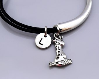 Giraffe bangle, Giraffe bracelet, Cute giraffe, Baby Giraffe bracelet, Leather bracelet, Leather bangle, Personalized bracelet