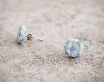 Sky blue checkered stud earrings, white and light blue checkerboard - 11 mm - fabric buttons earrings - recycled shank buttons - SALE -50%