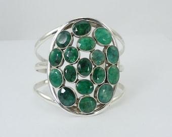 Natural Emerald Cuff Bracelet, Emerald Bracelet, Genuine Emeralds, Sterling Silver Cuff, Made in India, Stamped 925, Green Emeralds