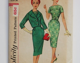 CLEARANCE / Vintage 1950s Simplicity Pattern 3084 / Factory Folds / Misses' Dress and Jacket / Bust 36 / Size 16