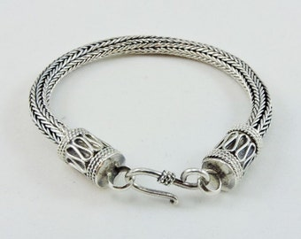 "Sterling Silver Foxtail Chain Bracelet 6 1/2"" Smaller Wrist"