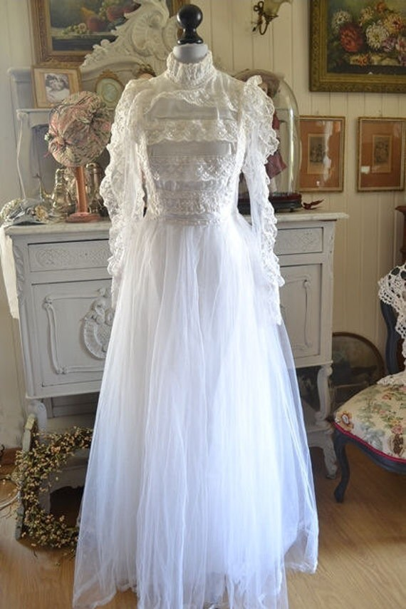 Vintage French Wedding Dress 1950s Silk Tulle Embroidered