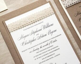 Rustic Elegance Kraft Wedding Invitation - Wedding Invitation Suite - Lace Wedding Invitation - Rustic Wedding Invitations by Paper Charms