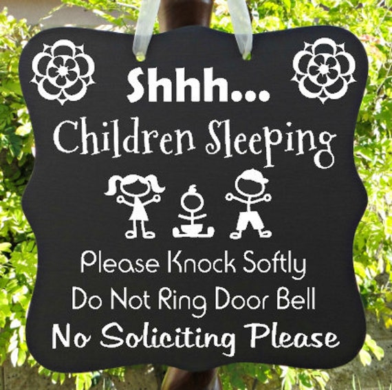 Children Sleeping Sign, No Soliciting Sign, Home Decor, Daycare Sign, Door Hanger