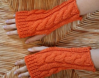 Kate's Cable-Knit Fingerless Glove in Orange/Pumpkin