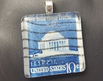 Cancelled Postage Stamp Pendant