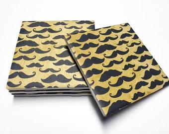 Mustache Coasters - Mustache Home Decor - Drink Coasters - Tile Coasters - Ceramic Coasters - Table Coasters
