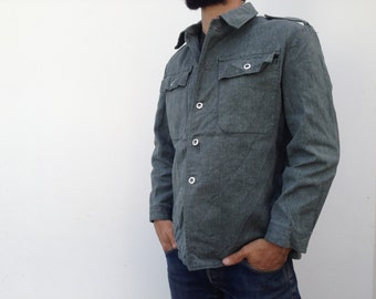Vtg 1960 Swiss army denim work jacket shirt / work shirt, work jacket, green / gray , engineer shirt , Sanfor, size S / M