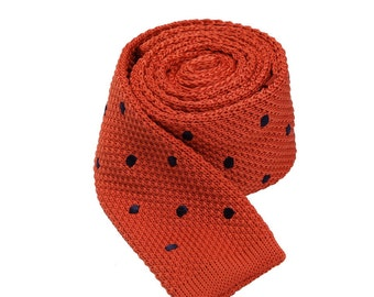 Orange Skinny Ties With Black Dots.Mens Slim Neckties.Wedding Mens Ties.Dots Neckties
