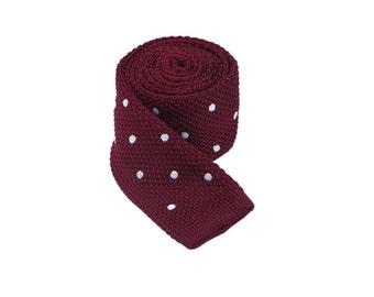 Burgundy Knitted Tie with White Dots.Polka Dot Tie.Wedding Necktie.Groomsmen Tie.