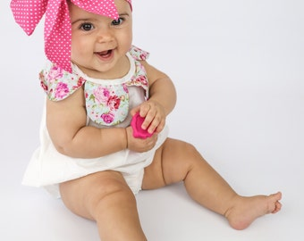 Baby Head Wrap, Baby Headwrap, Polka Dots Headband, Baby Turban, Toddler HeadWrap, Girls Headwrap Turban, Hot Pink Baby Head wrap, 2244