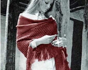 Shawl Pattern Bohemian Clothing Poncho Pattern Wrap Pattern Knitting Pattern Vintage 70s