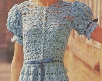Crochet DRESS Pattern Vintage 70s Crochet Wedding Dress Pattern Crochet Open Work Dress Pattern