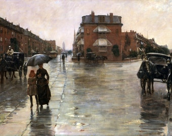 Rainy Day, Boston by Childe Hassam, in various sizes, Giclee Canvas Print