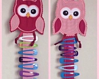 Owl hair clip holders x 2