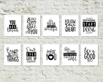 SET of 10 Black and White Printables Gallery Wall Art Simple Shabby Chic Farmhouse Decor INSTANT DOWNLOAD