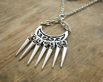 Ethnic Half Moon Necklace with Spike Fringe - Leather Cord or Chain - Silver Boho Necklace, Tribal, Bohemian Jewelry, Long Layering