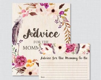 Boho Advice for Mommy to Be Cards and Sign - Printable Bohemian Baby Shower Advice for Mom AND Advice for New Parents - Feathers Flower 0043