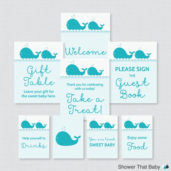 whale baby shower table signs eight signs welcome sign favors sign