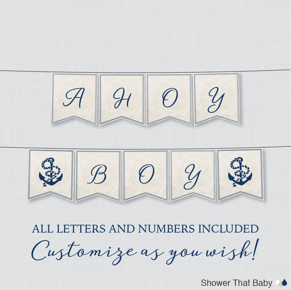 Printable Nautical Baby Shower Banner Navy Anchor Shower