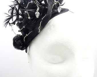 Black fascinator, teardrop headpiece hatinator