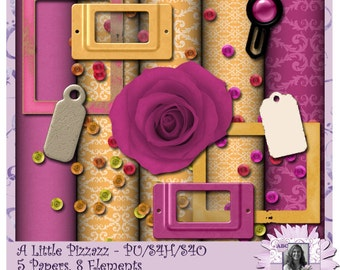 A Little Pizzazz - a digital scrapbooking kit with 5 papers and 8 elements