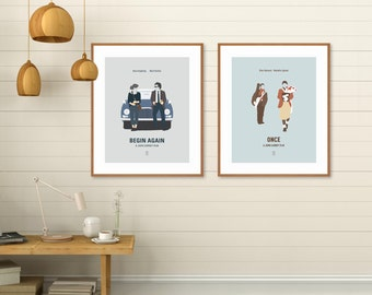 John Carney Movie Posters, Begin Again Poster, Once Movie Poster, Glen Hansard, Keira Knightley, Minimalist Poster, Alternative Poster,