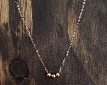 Gold Beads on Silver Chain - Dainty Mixed Metal Necklace - Sterling Silver Necklace - Neaptide Designs