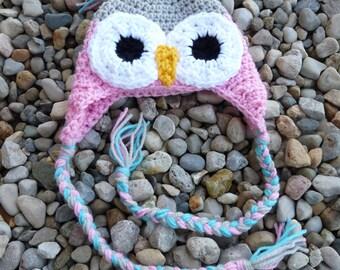 Newborn Owl Hat--Pink, Light Grey, & Turquoise