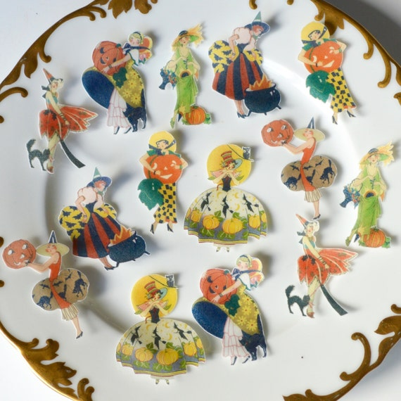 Edible Cake Decorations Halloween : Edible Halloween Vintage Ladiesx63 - Halloween Toppers ...