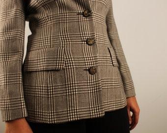 Vintage plaid blazer brown black and beige spring / fall jacket  1990 90s button front blazer