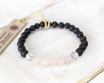 Lava bead bracelet Silver beads Rose quartz bracelet Beaded bracelet Healing crystals and stones bracelet Lava rock bracelet Stress relief