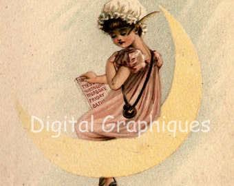Victorian Girl on the Moon Instant Digital Download 1880s