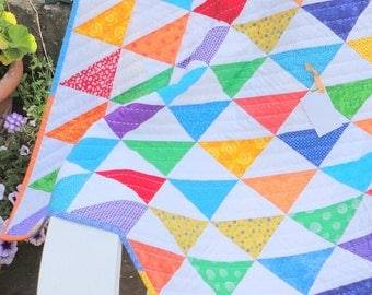 Sale on Rainbow Triangles Baby Quilt
