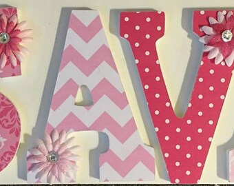 Pink and white wall letters, wood letters for Savannah, baby nursery letters, custom wall letters, decorative letters for girls, chevron