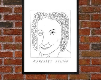 Badly Drawn Margaret Atwood - Literary Poster - *** BUY 4, GET A 5th FREE***