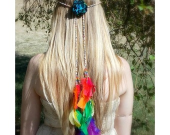 Rainbow Hair Feathers, Hippie Style Headband, Feather Headband, Braided Hemp Band -Wear it as a belt or necklace, Hair Jewelry, Hippie Bride