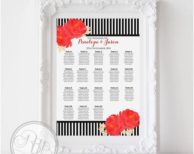 "Black & White Stripe Wedding Seating Chart-Black White Stripe with Red Anemone Flower-Digital Files-DIY Printable ""Penelope Seating Chart"""