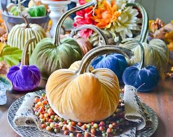 1 Large Mustard Yellow Silk Velvet Pumpkin, Fall Decor, Table Centerpiece, Homemade Rustic Decoration