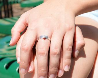 Square CZ Diamond Ring, Diamond Solitaire, Diamond Silver Ring, April Birthstone Ring, Square Stone Mothers Ring, Square Stone Ring