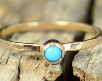 Classic Solid 14k Gold Turquoise Ring, 3mm gold solitaire, solitaire, real gold, December Birthstone, Mothers RIng, Solid gold band, gold