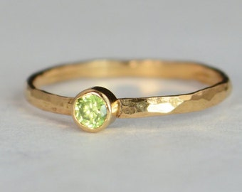 Classic Solid 14k Rose Gold Peridot Ring, 3mm Solitaire, Green Ring, Real Gold, August Birthstone, Mothers Ring, Solid Rose Gold, Band