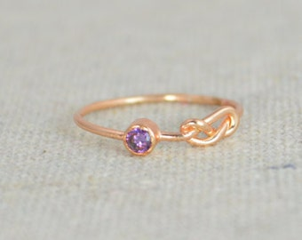 Amethyst Infinity Ring,  Rose Gold Filled Ring, Stackable Rings, Mothers Ring, February Birthstone Ring, Purple Ring, Rose Gold Knot Ring