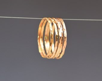 Set of 5 Super Thin Rose Gold Filled Rings, Thin Rose Gold Ring, Hammered Ring, Gold Stacking Ring, Thin Gold Ring, Minimal Gold Ring, Alari